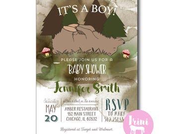 Bear Baby shower invitation // woodland baby shower invitation // forest friends baby shower invitation // woodsy baby shower invitation 176