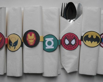 Superhero's Paper/Card Napkin Rings for Children's (or Adults!) Parties, 15 Designs, Digital Download