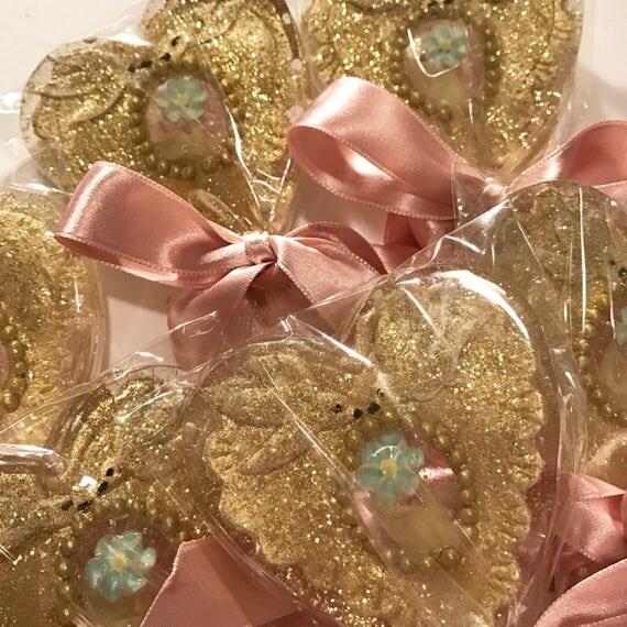 3 Gilded Sacred Heart Lollipops