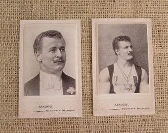 Eugen Sandow Mr. Olympic Photographs, Two Sandow's Olympia Photographs, Antique Photographs, Antique Body Building Photographs, Pictures