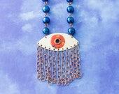 Evil Eye Necklace, Fringe Necklace, Blue and Orange Eye Necklace, Eye Jewelry, Good Luck Jewelry, Antique Copper Necklace, Fringe Jewelry..