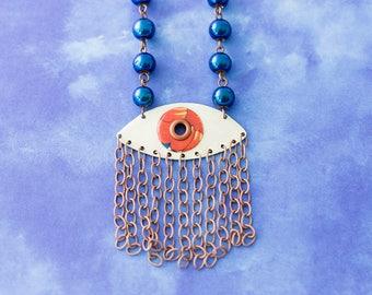 Evil Eye Necklace, Fringe Necklace, Blue and Orange Eye Necklace, Eye Jewelry, Good Luck Jewelry, Antique Copper Necklace, Fringe Jewelry