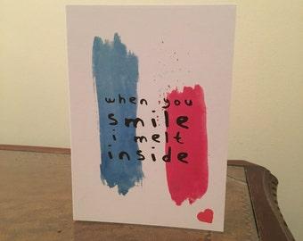 When You Smile I Melt Inside Blink 182 lyrics Love card
