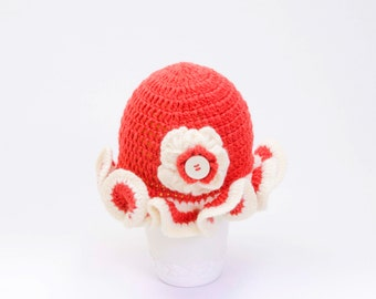 SALE Crochet girl baby hat with flower , toddler hat,