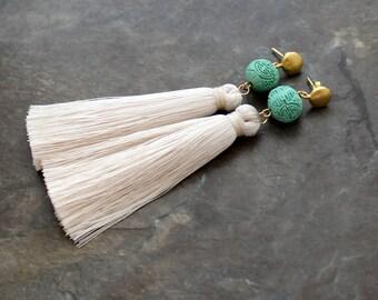 Silk Tassel Earrings - White Tassel Earrings - Tassle Earrings - Long Tassel Earrings, Wedding Earrings, Stud Earrings, stud tassel earring