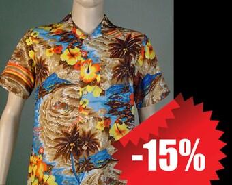 Vintage Brown Polyester Waikiki '76 Hawaiian Shirt