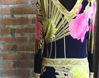 1960 or early 70's Leonard frolar print dress, peonies, flowers, pink, yellow, blue