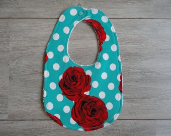 Bib with polka dots and flowers
