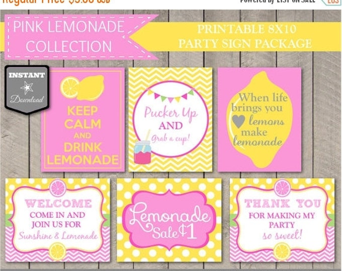SALE INSTANT DOWNLOAD Printable Pink Lemonade Party 8x10 Sign Package / Diy Printables / Pink Lemonade Package / Item #401