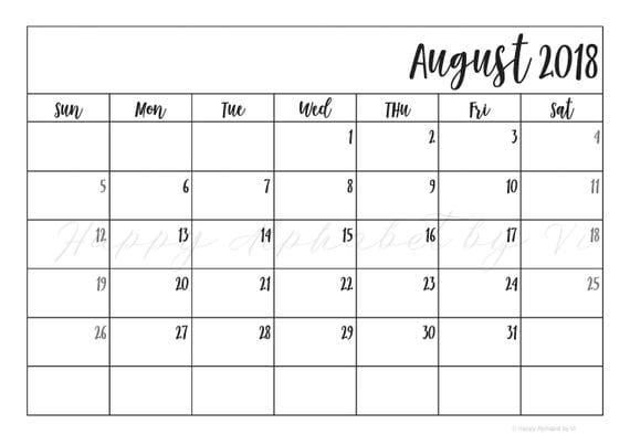 aug 2018 calendar printable