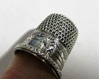 Antique Simons Brothers Sterling Silver Thimble  Engraved House Scene, sun and mountains, with swirled edge