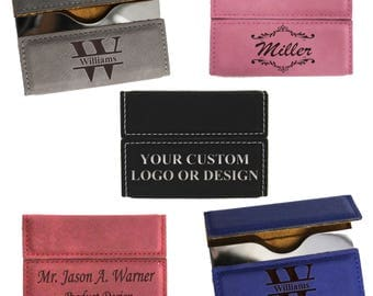 Business card holder etsy personalized leather business card holder business card case business gifts custom business card reheart Images
