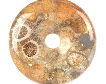 30mm  Coral fossil Petoskey Stone donut gemstone pendant focal bead