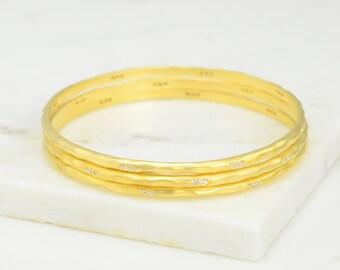 Satin Bangle Bracelet - Matte White Topaz Bangle - Minimalist Bangle Bracelet - Stackable Bangle - Gold Bangles - Stacking Bangles