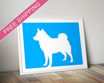 Schipperke Print (Natural Tail) - Schipperke Silhouette - dog portrait, dog gift, modern dog home decor