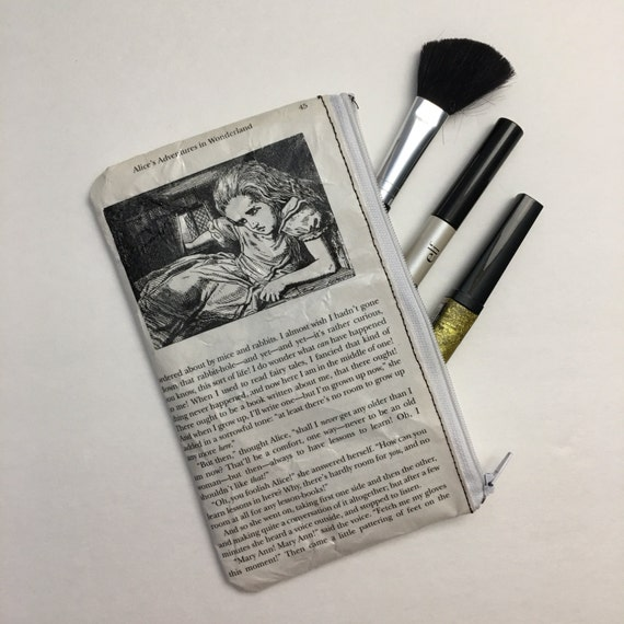 Alice in Wonderland Book Themed Pencil or Make-up Pouch - Alice in White Rabbit's House