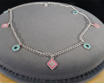 Vintage Art Deco Style Silver Tone Charm Line Link Enameled Round Square Necklace Jewelry -K#23