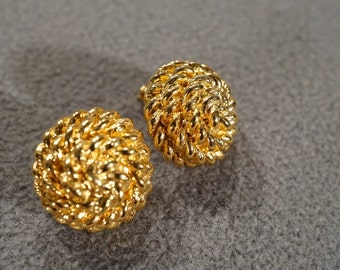 Vintage Art Deco Style Yellow Gold Tone Round Button Style Post Style Pierced Earrings Jewelry   -K#59