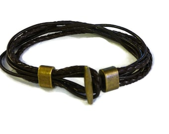 Small size Mens and teens leather bracelet, unique handmade multistrand jewelry for him, trendy western bracelet for boyfriend
