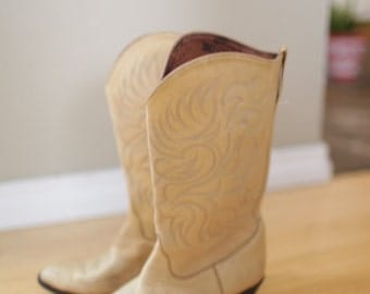 vintage tony lama cream leather cowboy boots womens 6 1/2 *