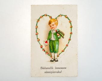 Antique birthday postcard from 20s -  made in Estonia - greeting card - Boy with hat and heart