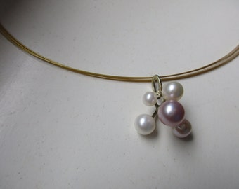 Pendant with 5 different pearls Gold 14k, Freshwaterpearl