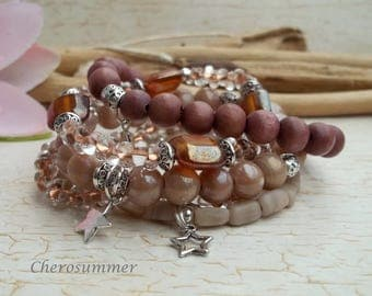 Bracelet 5pcs set glass wood star
