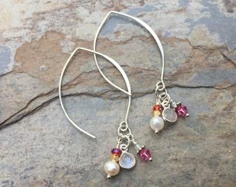 Pink Cluster Earrings, Sterling Silver Hoop Earrings, Long Earrings
