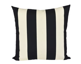 Indoor/Outdoor Black & Ivory Cabana Stripe pillow cover - Made to Order - Choose Your Size