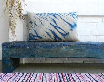 Arashi Shibori Avocado Indigo natural dyed vintage Linen Cotton Pillow Sand Ink Blue Cushion Marble Denim 40x60 cm 16x24 inches
