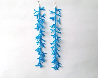 Extra Long Earrings.  Blue Earrings.  Beadwork. Shoulder Duster Earrings. Dangle Earrings