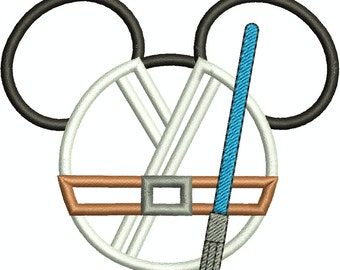 Character Inspired Boy Jedi Mouse Head Applique, Embroidery Design Machine Embroidery Design 242