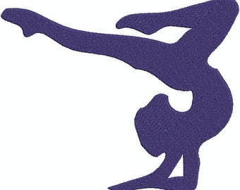 Gymnastic Girl Silhouettes Fill 4x4 Machine Embroidery design, Design 5