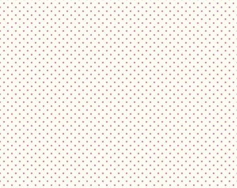 Le Creme Swiss Dots Hot Pink on Cream by Riley Blake Designs - C600-70 Hot Pink