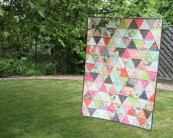 Fresh Cut - triangles quilt - lap quilt or throw - READY TO SHIP - patchwork - wall hanging