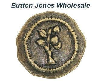 50 pcs. Rustic Tree 7/8 inch ( 23 mm ) Metal Buttons Antique Brass Color