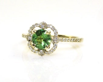 0.80 Carat Demantoid Garnet and Diamond Anniversary Ring in 14k Yellow Gold (14348)