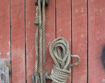 Antique Large heavy duty Wooden Black and tackle with rope