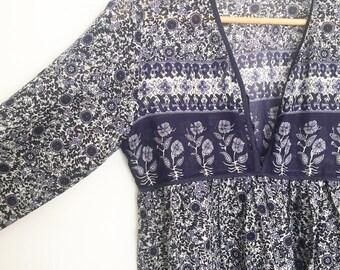indigo block print indian cotton  gauze dress S