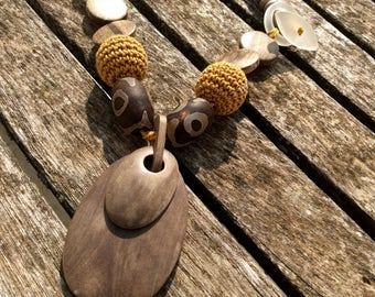 Handcrafted necklace made using natural materials.  Unique one off design.