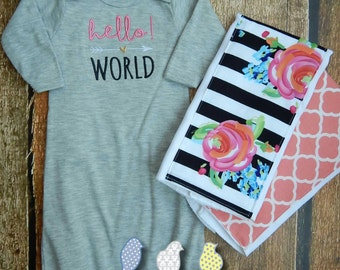 Infant Gown and Burp Cloth set - Hello World!