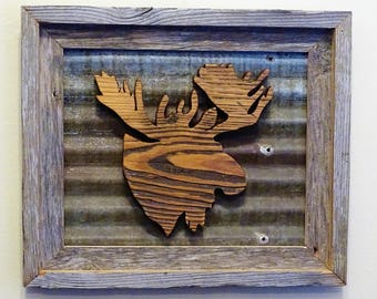Salvaged Barn Wood Frame | Rustic Tin Frame | Moose Head Frame | Vintage Barn Wood Frame | Man Cave Gift