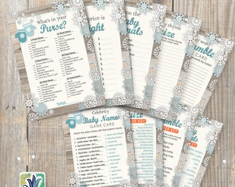 Baby it's Cold Outside Games. Winter Baby Shower Games. DIY card. Digital Printable cards 5x7