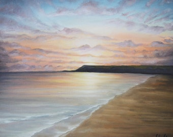 Calm Seas - Original Oil on Canvas Seascape Painting by Sam Lyle