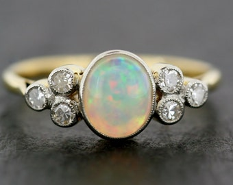 Art Deco Opal Ring - Antique Opal & Diamond 18ct Gold Ring - Antique Art Deco Ring