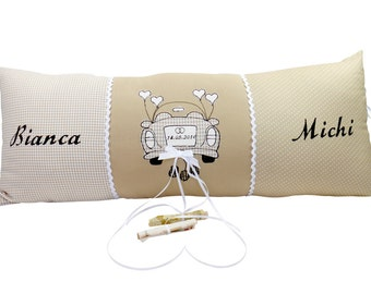 Wedding pillow, money gift car application customized with names and date