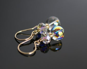 Swarovski AB crystal drop earrings, Swarovski wedding dangle earrings, 14k gold fill ear wires, Glass earrings, bridal earrings