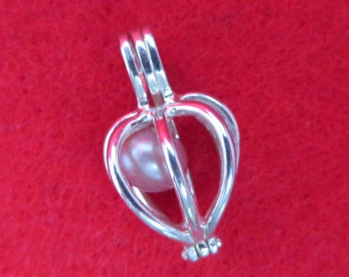 Sterling Silver Cage Charm Vintage Faux Pearl Cage Pendant Charm Bracelet Necklace Gift Idea