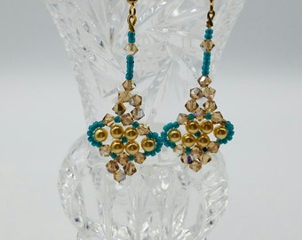 Teal/gold pearl and crystal chandelier earrings, 1700's French Marie Antoinette style