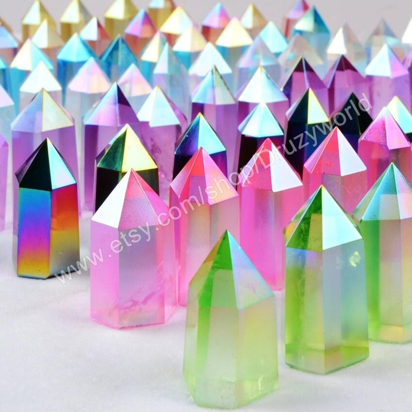 1pcs flash colorful angel aura quartz obelisk point decor for Decor8 crack